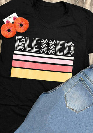 Striped Blessed T-Shirt Tee - Black