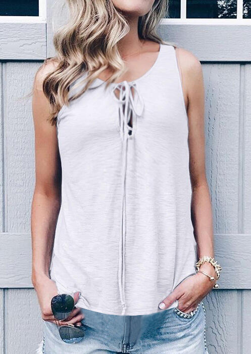 Solid Lace Up Tank – White
