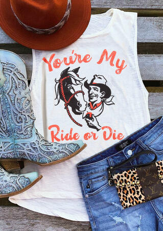 You're My Ride Or Die Horse Tank - White