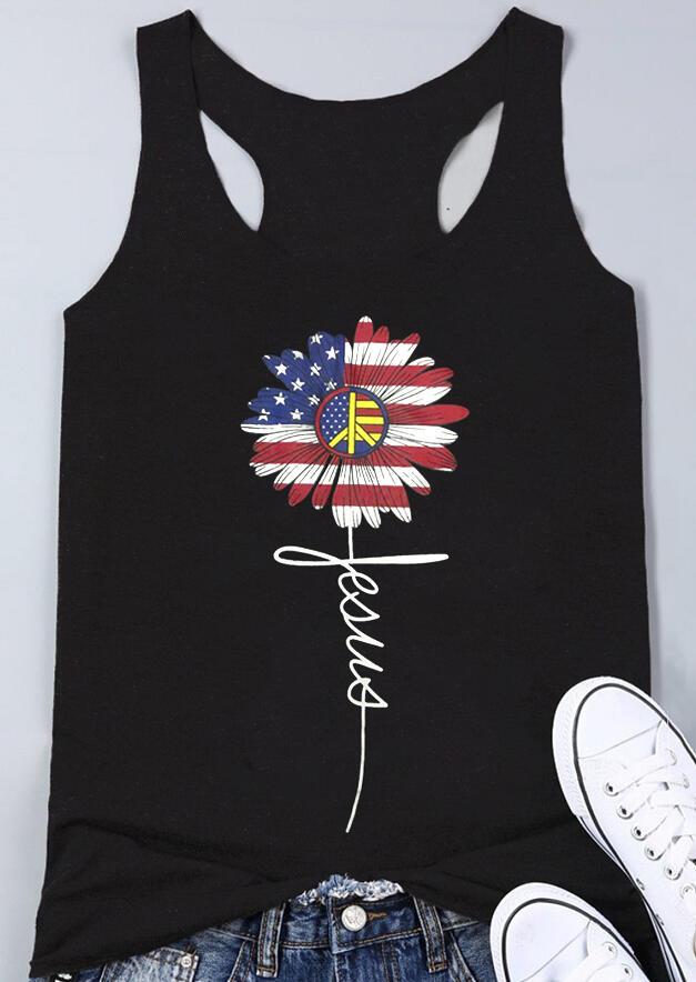 American Flag Jesus Flower Tank – Black