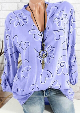 Floral Printed V-Neck Blouse without Necklace - Purple