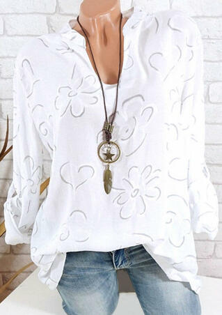 Floral Printed V-Neck Blouse without Necklace - White