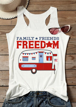 Family Friends Freedom Star Car Tank - White