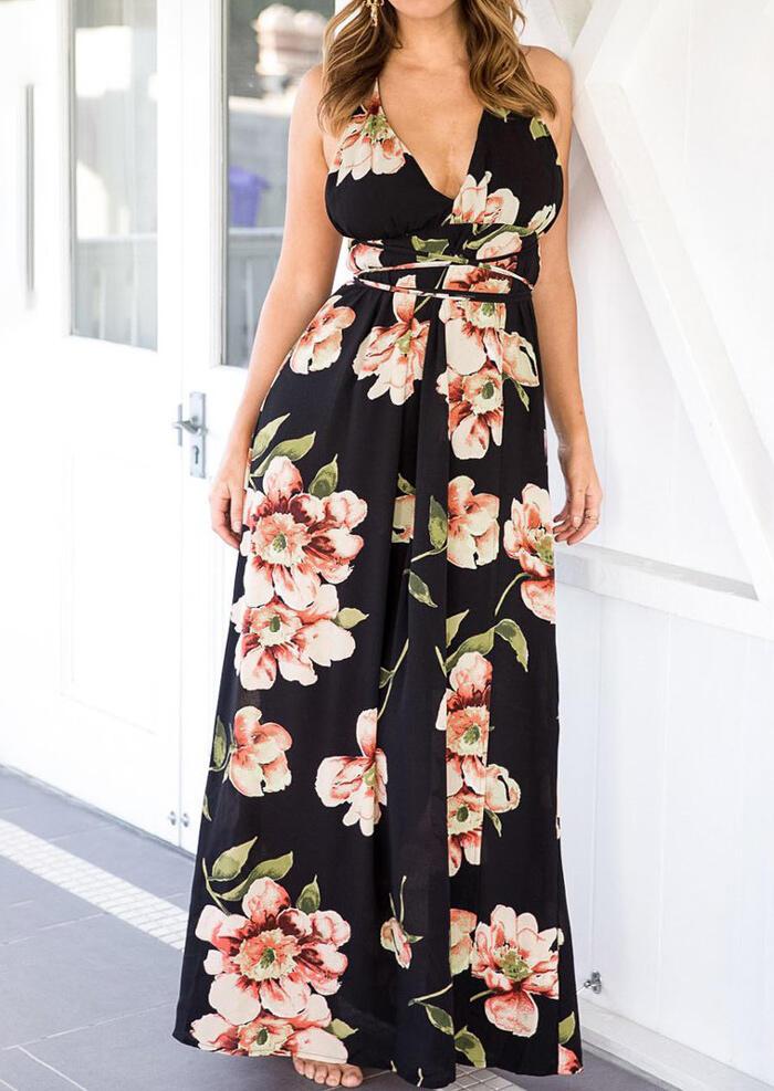 Floral Wrap Backless Slit Maxi Dress – Black