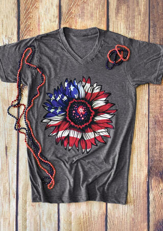 Star American Flag Sunflower T Shirt Tee Gray Fairyseason