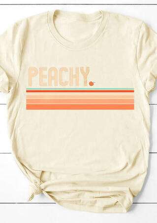 Peachy Striped O-Neck T-Shirt Tee - Cream