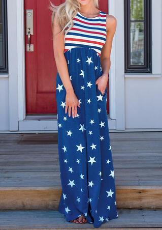 American Flag Printed Striped Maxi Dress - Blue