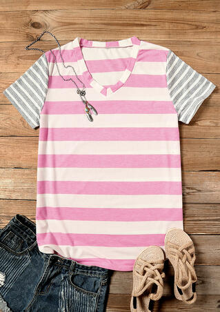 Striped V-Neck T-Shirt Tee - Stripe
