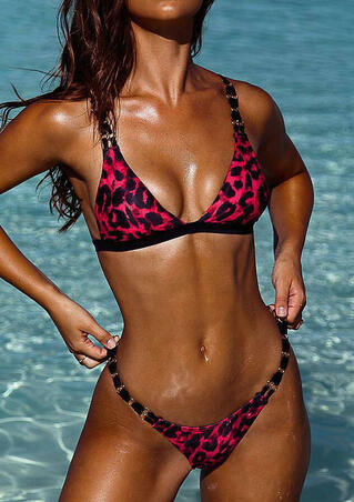 Leopard Printed Bikini Set - Red