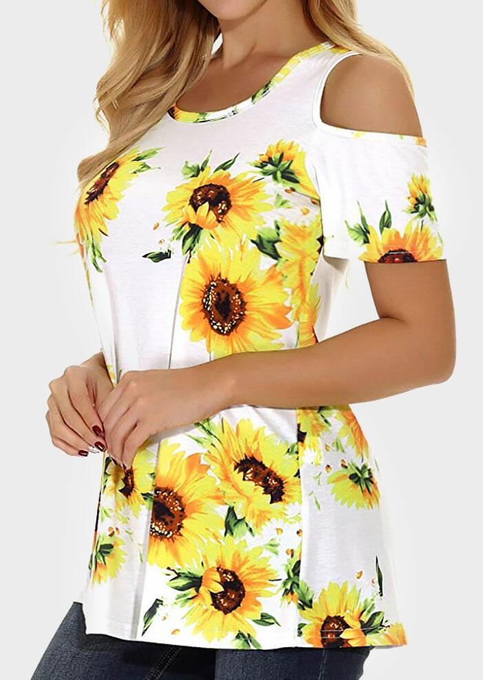 9217d34e84f5 Sunflower Cold Shoulder Blouse without Necklace - White - Fairyseason