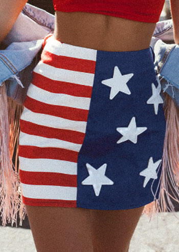 American Flag Mini Skirt - Multicolor