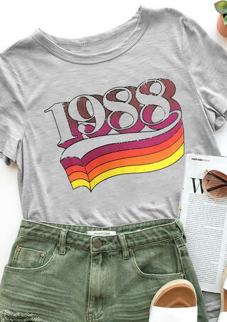 1988 Rainbow O-Neck T-Shirt Tee - Gray