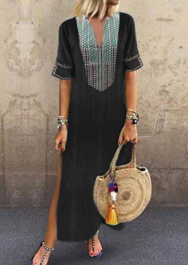FairySeason / Geometric Printed Side Slit V-Neck Maxi Dress - Green