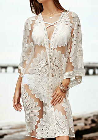 Solid Lace Splicing Cover Up without Necklace - White