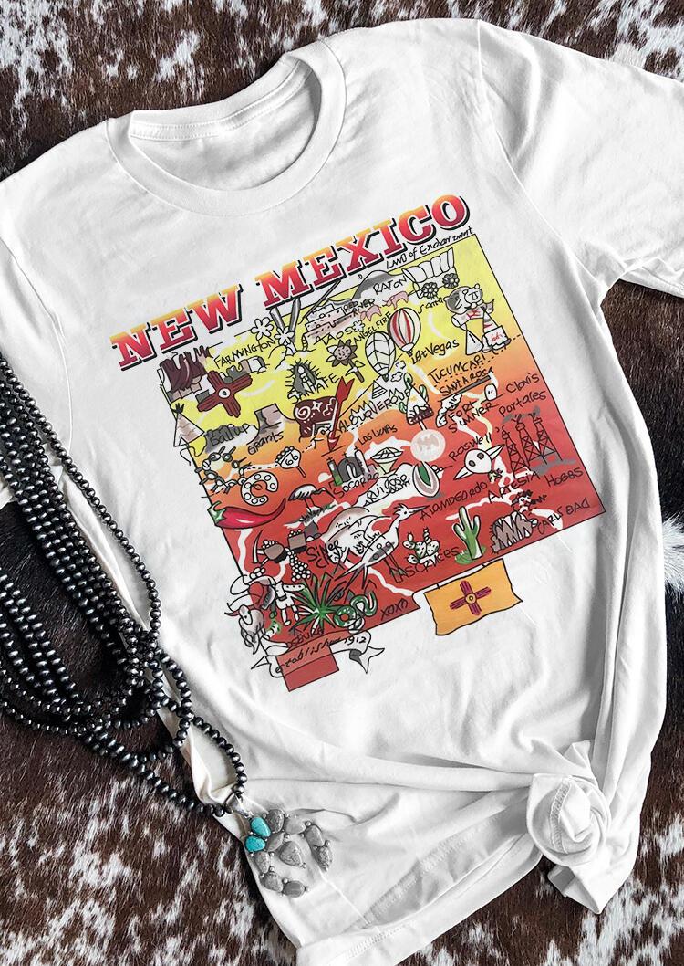 New Mexico Cactus O-Neck T-Shirt Tee – White