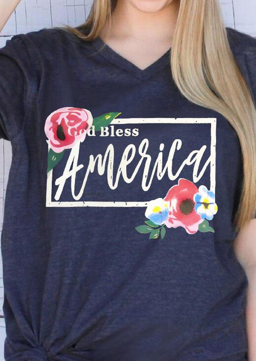 Floral God Bless America T-Shirt Tee – Deep Blue