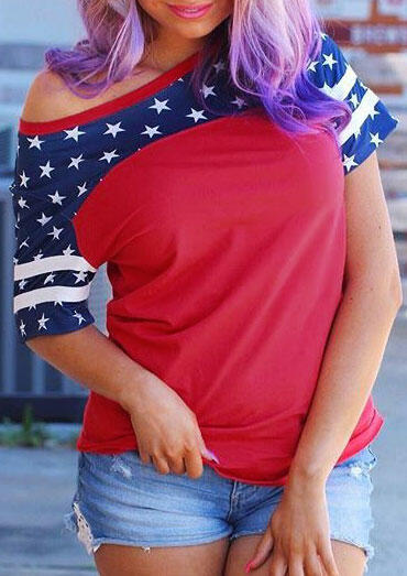 American Flag O-Neck T-Shirt Tee – Red