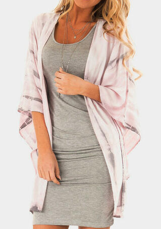 Printed Batwing Sleeve Cardigan without Necklace - Pink