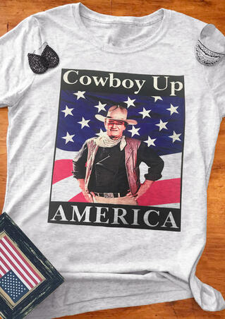 Cowboy Up American Flag T-Shirt Tee - Light Grey