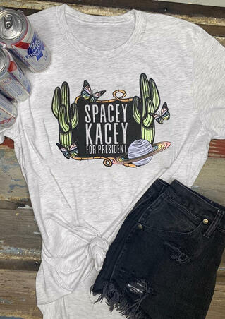 Spacey Kacey For President T-Shirt Tee - Light Grey