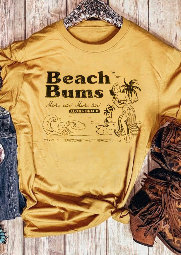 Beach Bums Aloha Beach T-Shirt Tee - Yellow