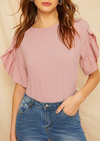 Solid Ruffled O-Neck Blouse - Pink