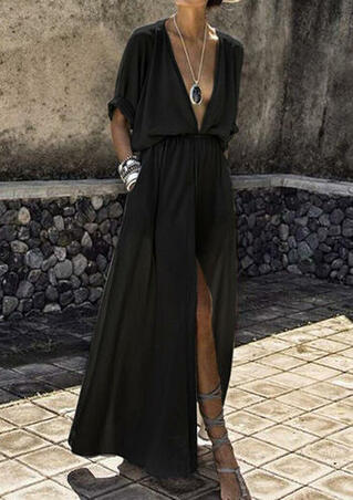 Solid Deep V-Neck Slit Maxi Dress without Necklace - Black