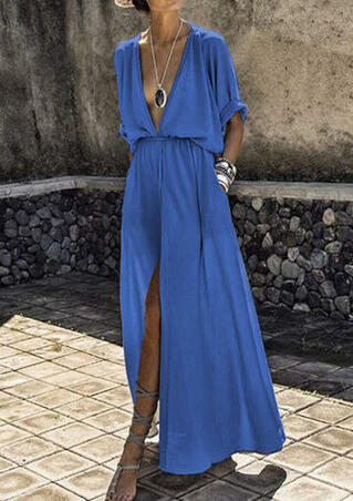Solid Deep V-Neck Slit Maxi Dress without Necklace - Blue