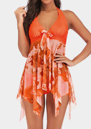 Printed Mesh Tied Halter Tankini - Orange