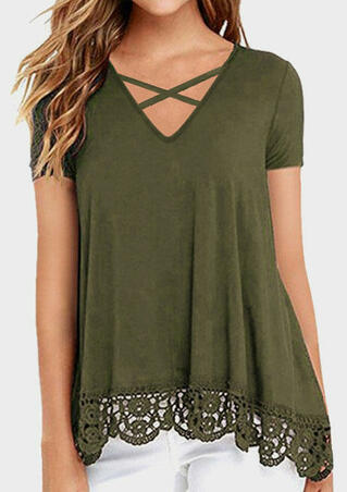 Solid Lace Splicing Criss-Cross Blouse - Army Green