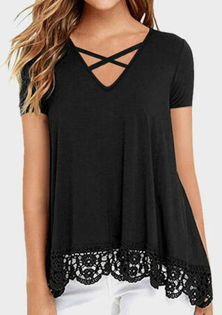 Solid Lace Splicing Criss-Cross Blouse - Black