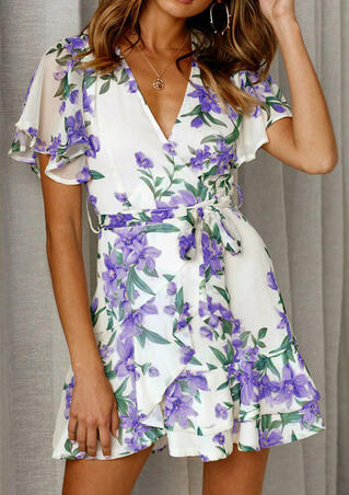 Floral V-Neck Mini Dress without Necklace - White