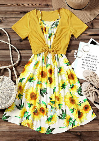 Sunflower Spaghetti Strap Casual Dress with Coat - Yellow