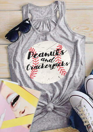 Peanuts And Crackerjacks Baseball Tank - Gray