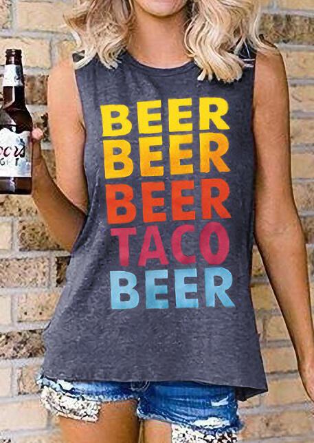 Beer Beer Beer Taco Beer Tank – Gray