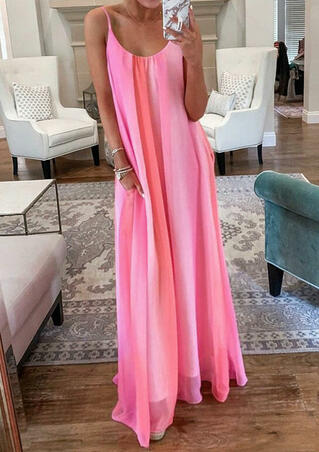 Gradient Color Spaghetti Strap Maxi Dress without Necklace - Pink