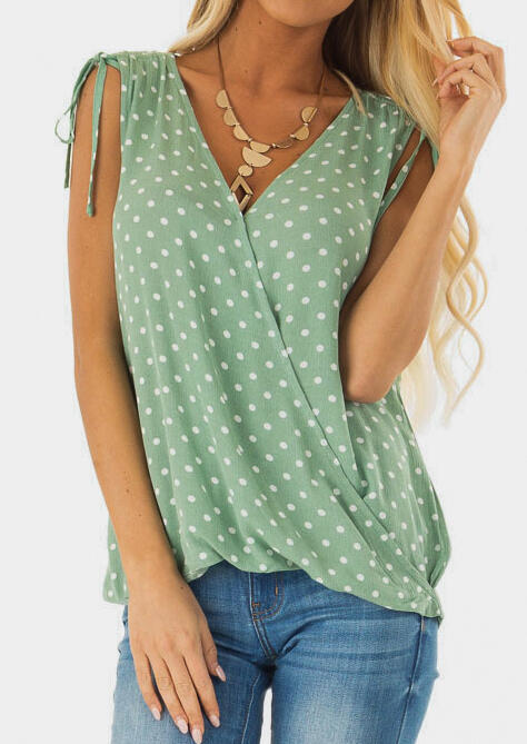 Tank Tops Polka Dot Ruffled Tank without Necklace in Green. Size: S,M,L,XL фото