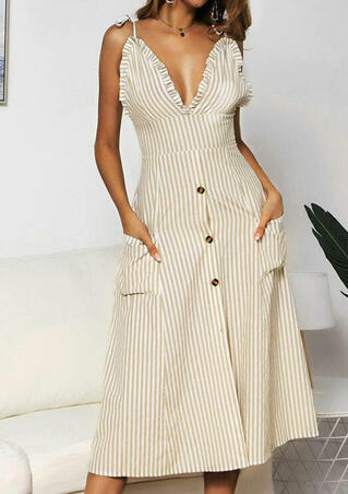 Striped Button Ruffled Casual Dress without Necklace - Light Khaki