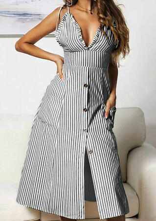Striped Button Ruffled Casual Dress without Necklace - Gray