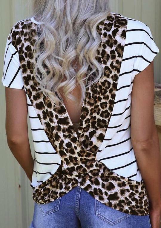 Leopard Printed Open Back Blouse - Stripe фото