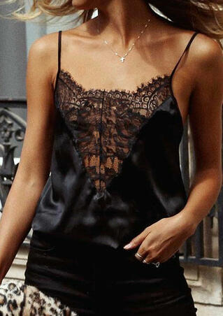 Solid Lace Splicing Camisole without Necklace - Black