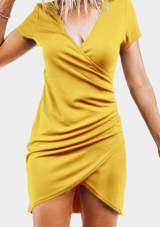 Solid Irregular Ruffled Bodycon Dress- Yellow