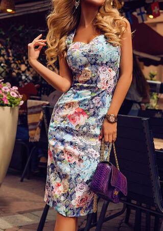 Floral Criss-Cross Bodycon Dress - Multicolor