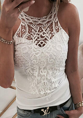Lace Splicing Hollow Out Tank - White