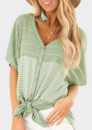 Striped Button V-Neck Blouse without Necklace - Light Green