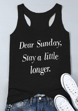Dear Sunday Stay A Little longer Tank - Black