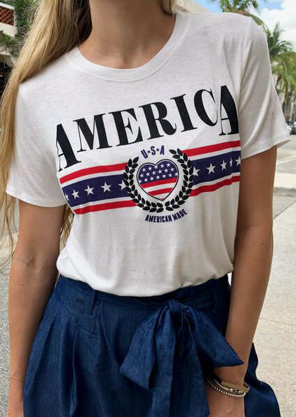 American Flag O-Neck T-Shirt Tee - White