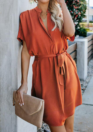 Solid V-Neck Casual Dress without Necklace - Brick Red
