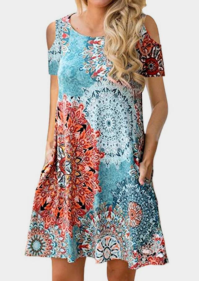 Mandala Printed Cold Shoulder Casual Dress – Multicolor