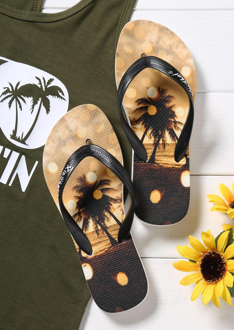Tree Round Toe Summer Flip Flops – Light Yellow